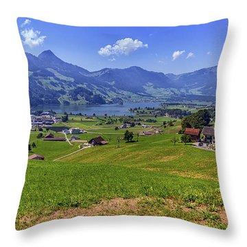 Schwyz And Zurich Canton View, Switzerland Throw Pillow by Elenarts - Elena Duvernay photo