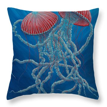 Scifi Jellies Throw Pillow by Rebecca Parker