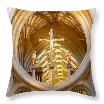 Scissor Arches, Wells Cathedral Throw Pillow