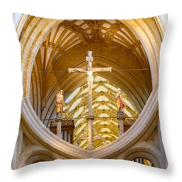 Throw Pillow featuring the photograph Scissor Arches, Wells Cathedral by Colin Rayner