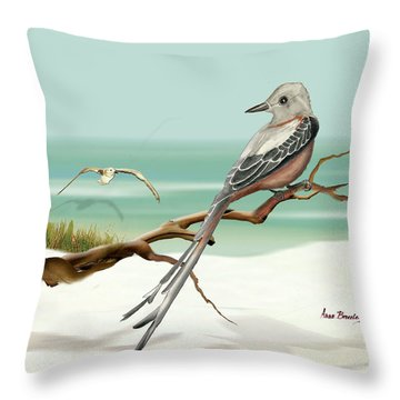 Scissor Tailed Flycatcher Throw Pillow