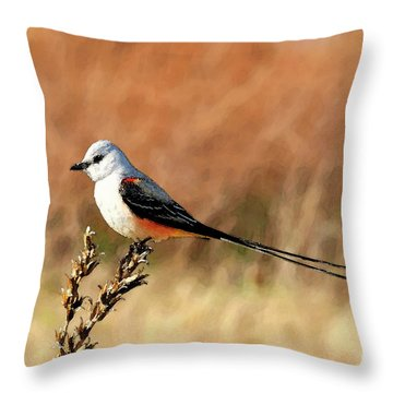 Scissor-tailed Flycatcher Throw Pillow by Betty LaRue