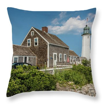 Scituate Lighthouse In Scituate, Ma Throw Pillow by Peter Ciro