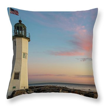 Scituate Lighthouse Scituate Massachusetts South Shore At Sunrise Throw Pillow