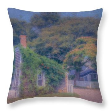 Sconset Cottages Nantucket Throw Pillow
