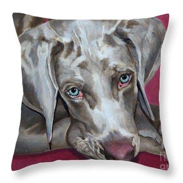 Scooby Weimaraner Pet Portrait Throw Pillow by Enzie Shahmiri