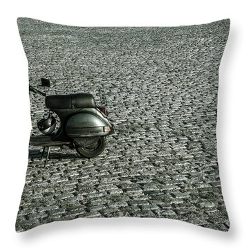 Scooter On Cobblestones Throw Pillow by Lana Enderle