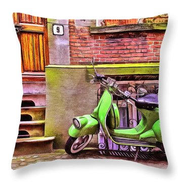 Throw Pillow featuring the painting Scooter Parking Only by Edward Fielding
