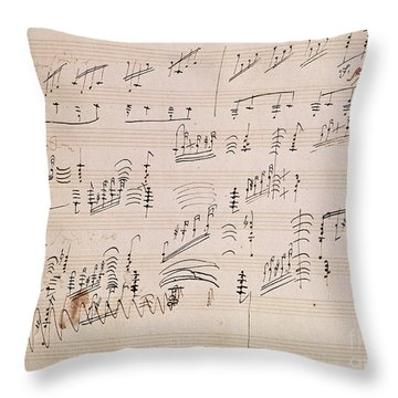 Score Sheet Of Moonlight Sonata Throw Pillow by Ludwig van Beethoven