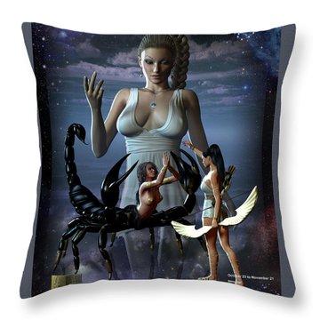 Scorpio Throw Pillow by Joseph Soiza
