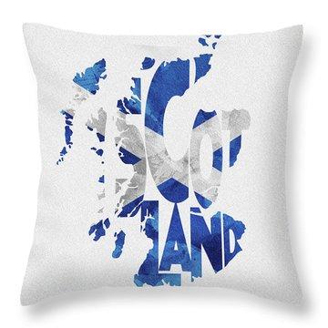 Scotland Typographic Map Flag Throw Pillow
