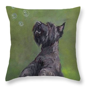 Scottie Likes Bubbles Throw Pillow