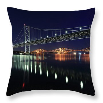 Scottish Steel In Silver And Gold Lights Across The Firth Of Forth At Night Throw Pillow