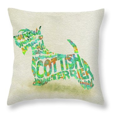 Throw Pillow featuring the painting Scottish Terrier Dog Watercolor Painting / Typographic Art by Ayse and Deniz