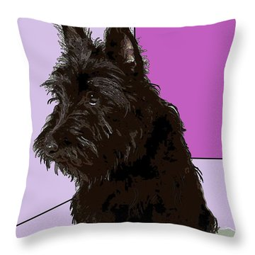 Scottish Terrier Throw Pillow by George Pedro