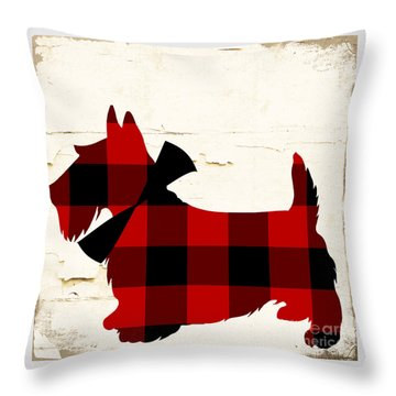 Scottish Terrier Tartan Plaid Throw Pillow