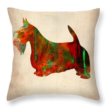 Scottish Terrier Watercolor 2 Throw Pillow by Naxart Studio