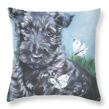 Scottish Terrier With Butterflies Throw Pillow by Lee Ann Shepard