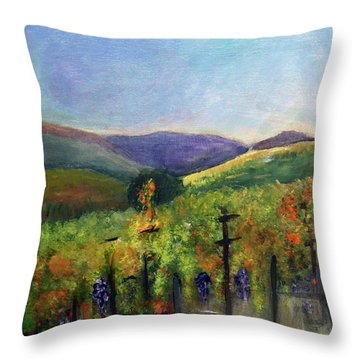 Scotts Vineyard Throw Pillow by Donna Walsh