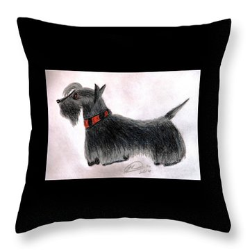 Scotty Elegance Throw Pillow by Angela Davies