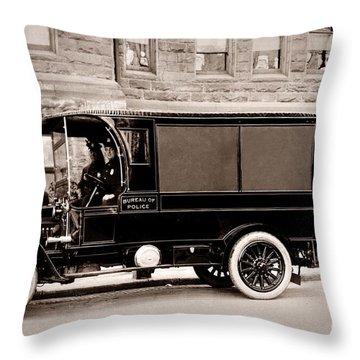 Scranton Pennsylvania  Bureau Of Police  Paddy Wagon  Early 1900s Throw Pillow