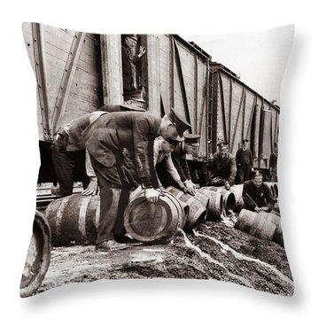 Scranton Police Dumping Beer During Prohibition  Scranton Pa 1920 To 1933 Throw Pillow