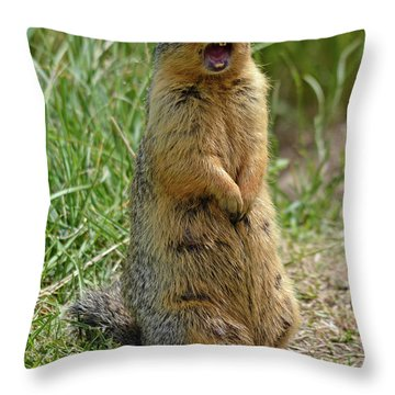 Screaming Gopher Throw Pillow
