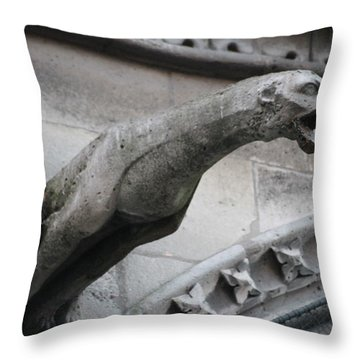 Throw Pillow featuring the photograph Screaming Griffon Notre Dame Paris by Christopher Kirby