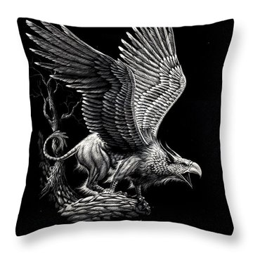 Screaming Griffon Throw Pillow by Stanley Morrison