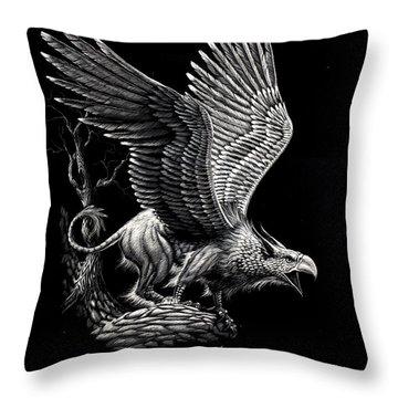 Screaming Griffon Throw Pillow