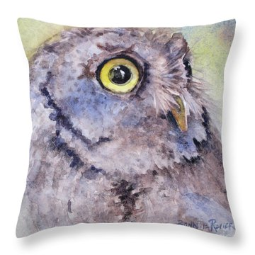 Throw Pillow featuring the painting Screech Owl by Bonnie Rinier