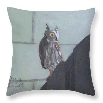 Screech Owl On Gate To Pergola Throw Pillow