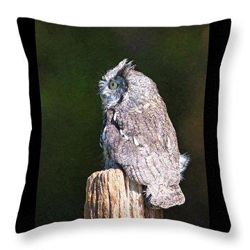 Screech Owl Profile Throw Pillow