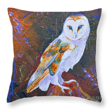 Screechy Throw Pillow by Tracy L Teeter