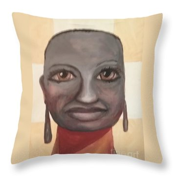 Throw Pillow featuring the painting Screw You Cancer by Saundra Johnson