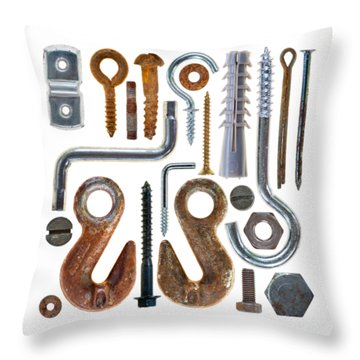 Screws, Nut Bolts, Nails And Hooks Throw Pillow