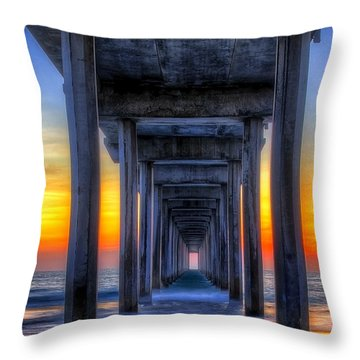 Scripp's Pier Sunset La Jolla California Throw Pillow