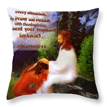 Scripture Art   Native Prayer Throw Pillow