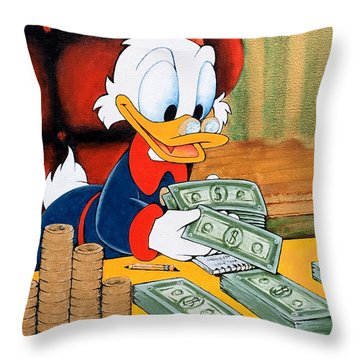 Scrooge Mcduck Counting Money Throw Pillow