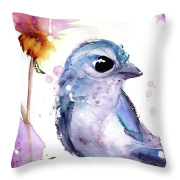 Throw Pillow featuring the painting Scrub Jay In The Wildflowers by Dawn Derman