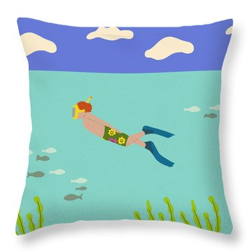 Scuba Boy Throw Pillow