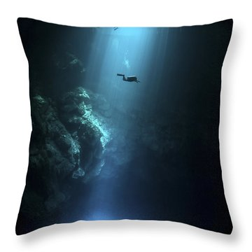 Scuba Diver Descends Into The Pit Throw Pillow by Karen Doody
