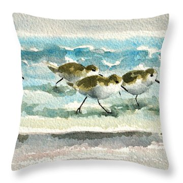 Scurrying Along The Shoreline 2  1-6-16 Throw Pillow