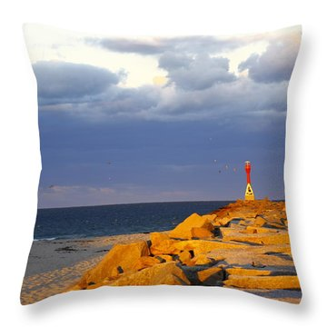 Throw Pillow featuring the photograph Scussett Beach Sunset by Greg DeBeck