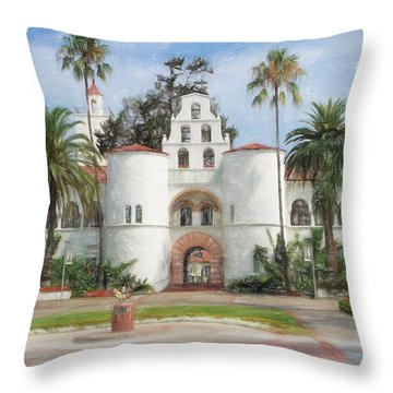 Throw Pillow featuring the digital art Sdsu Drawing by Nancy Ingersoll
