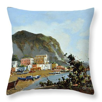 Sea And Mountain With Boats Throw Pillow