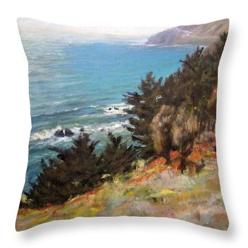 Sea And Pines Near Ragged Point, California Throw Pillow
