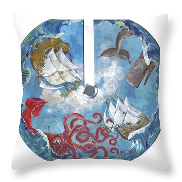 Sea Battle Throw Pillow