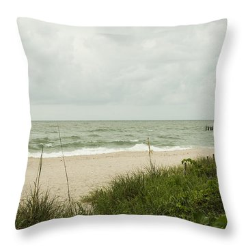 Sea Birds Awaiting The Rain Throw Pillow by Christopher L Thomley