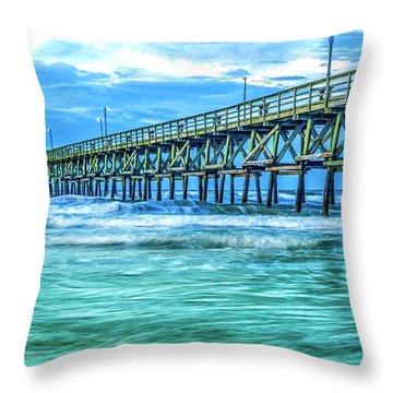 Sea Blue Cherry Grove Pier Throw Pillow